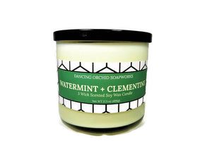 Watermint And Clementine Scented 3 Wick Soy Wax Candle - Dancing Orchid SoapWorks
