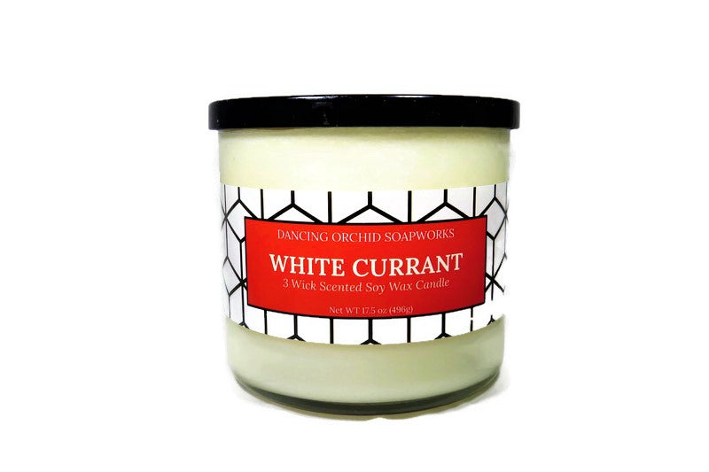 White Currant Scented 3 Wick Soy Wax Candle - Dancing Orchid SoapWorks