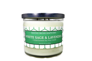 White Sage And Lavender Scented 3 Wick Soy Wax Candle - Dancing Orchid SoapWorks