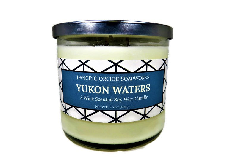 Yukon Waters Scented 3 Wick Soy Wax Candle - Dancing Orchid SoapWorks