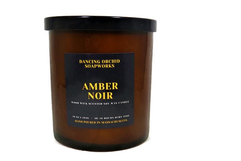 Amber Noir Scented Wood Wick Soy Candle - Dancing Orchid SoapWorks