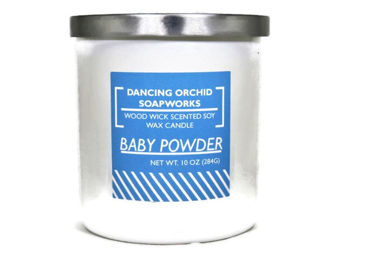 Baby Powder Scented Wood Wick Soy Candle - Dancing Orchid SoapWorks