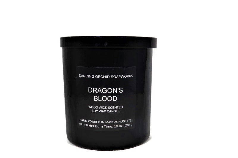Dragon's Blood Scented Wood Wick Soy Candle - Dancing Orchid SoapWorks