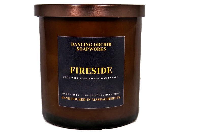 Fireside Scented Wood Wick Soy Candle - Dancing Orchid SoapWorks
