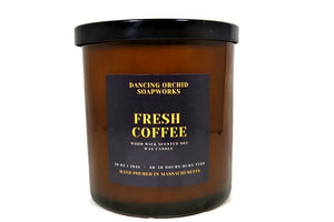 Fresh Coffee Scented Wood Wick Soy Candle - Dancing Orchid SoapWorks