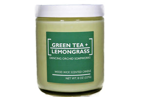 Green Tea And Lemongrass Scented Wood Wick Soy Candle - Dancing Orchid SoapWorks