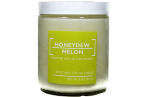 Honeydew Melon Scented Wood Wick Soy Candle - Dancing Orchid SoapWorks