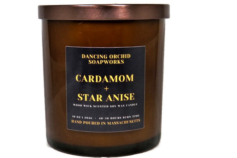 Cardamom And Star Anise Scented Wood Wick Soy Candle - Dancing Orchid SoapWorks