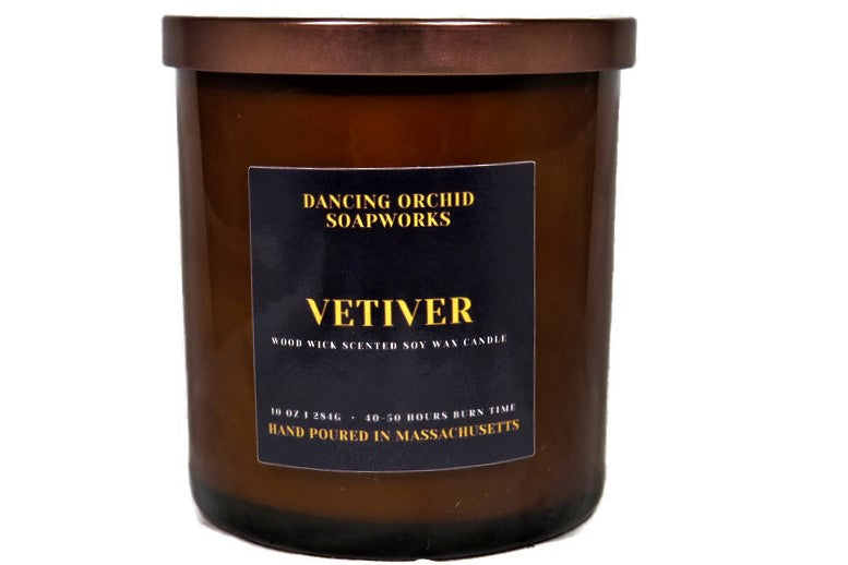 Vetiver Scented Wood Wick Soy Candle - Dancing Orchid SoapWorks