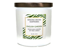 English Garden Scented Wood Wick Soy Candle - Dancing Orchid SoapWorks
