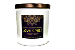 Love Spell Scented Wood Wick Soy Candle - Dancing Orchid SoapWorks