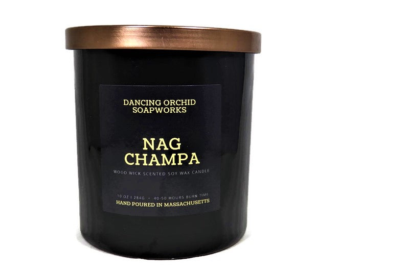 Nag Champa Scented Wood Wick Soy Candle - Dancing Orchid SoapWorks