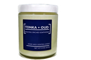 Tonka And Oud Scented Wood Wick Soy Candle - Dancing Orchid SoapWorks