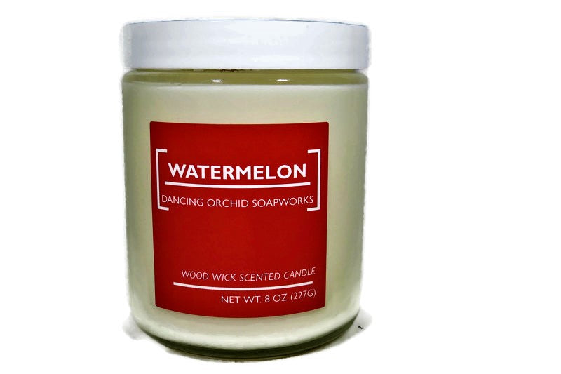 Watermelon Scented Wood Wick Soy Candle - Dancing Orchid SoapWorks