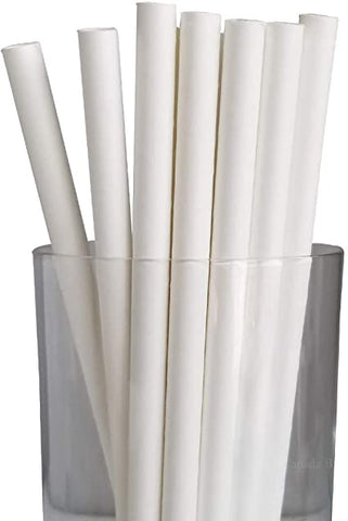 Paper Straw, 8'',  White, 250 pcs, #UnWrapped