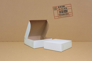 White Cake Boxes 10 x 10 x 3.5  100 pcs