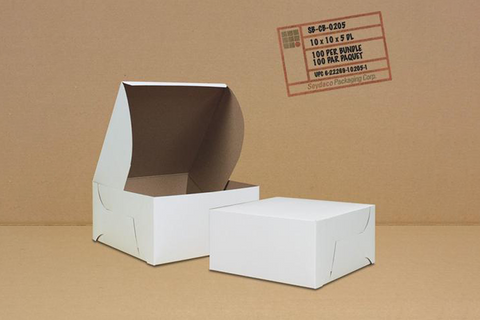 White Cake Box,  10 x 10 x 5,  100 pcs