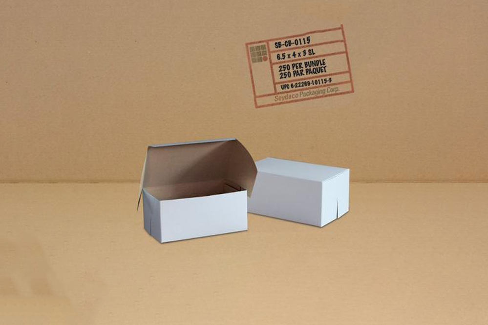 White Cake Boxes 6.5 x 4 x 3  250 pcs