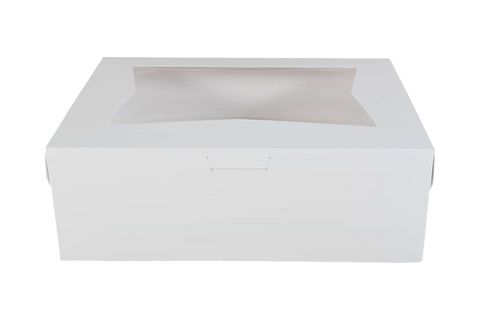 White Cake Box With Window,  9 x 9 x 2.5