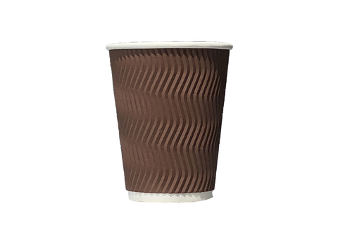 COFFEE CUPS  RIPPLE  BROWN  8 OZ  500 PCS