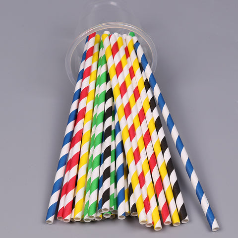 Paper Straw, 8'',  Striped,  150 pcs, #UnWrapped