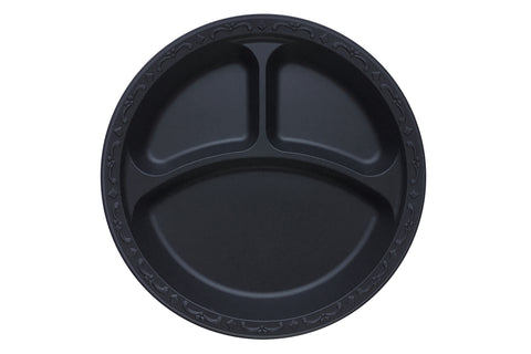 "10.25"" Plate  Pebble Black, 3-compartment, Ivory   400 count #PP103-Black"