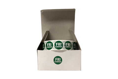 "Food Rotation Labels, Friday, 3.4"", Round, 2000 Pcs x 2 Rolls"