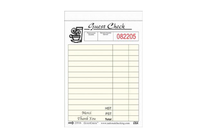 GUEST CHECK BILINGUAL 1 COPY 100 PAGE 10 PCS