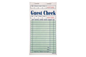 Guest Check  Receipt Book  1 Copy   50 PCS