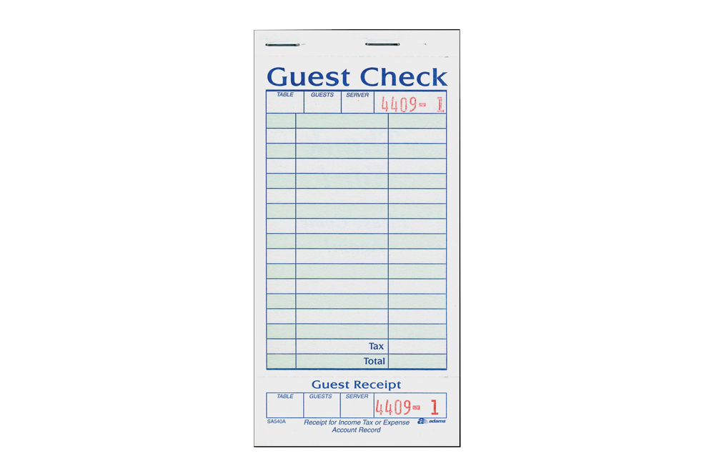 Guest Check,  Receipt Book,  2 Copy,  50 pcs
