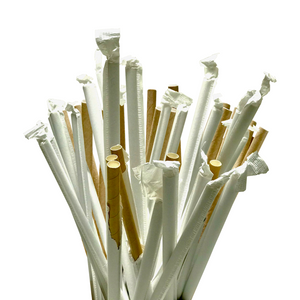 Paper Straw, 8'',  White, 250 pcs, #Wrapped