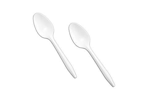 Plastic Tea Spoons  White  1000pcs/case, #UnWrapped, #Regular