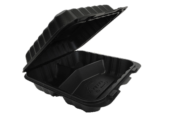 "Pebble Container, 8""x 8""x 3"", 3-compartment 150 pcs  PP883-Black"