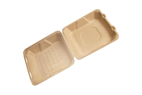 Pulp Hinged Lid Container 8x8 1-comp 200 pcs #FSTP2