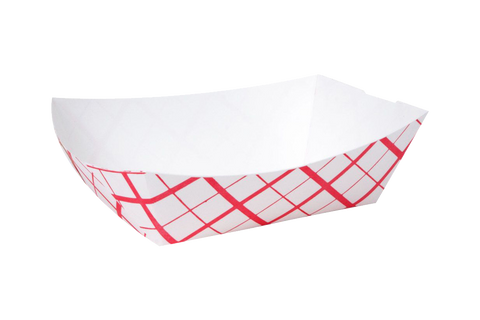 Red checker paper food tray, #25, 1000 pcs, SOUTHLAND