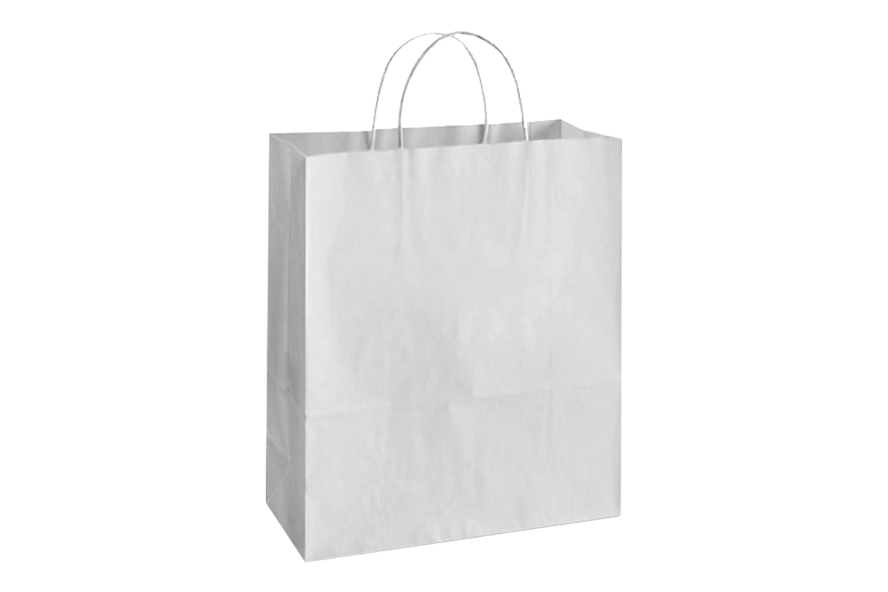 Paper Shopping Bags with handle, WHITE,  13x6x15,  250 pcs