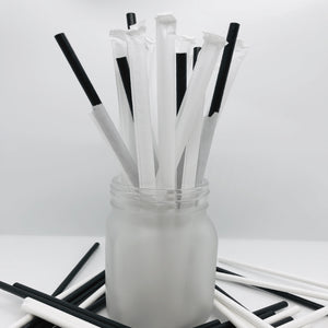 Paper Straw, 8'', 500 pcs, # Black, #Wrapped