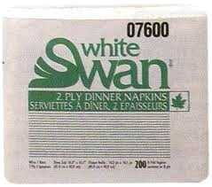 Dinner Napkins WHITE SWAN 2 PLY 2400pcs  #7600