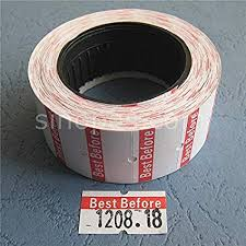 "Price Label ""Best Before"" White  9 Rolls,  20 sleeves/cs"