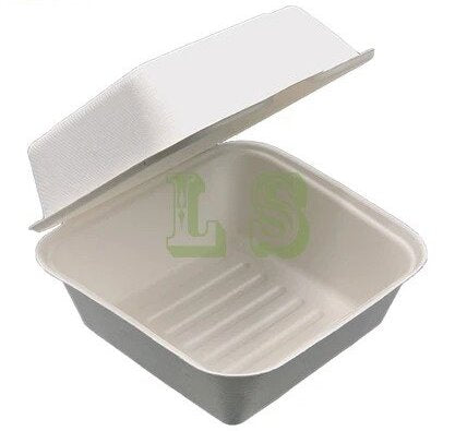 Sugarcane Bagasse Container, 6x6x3,(Wide) #400 pcs, #New Size