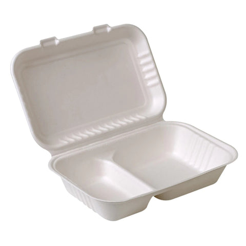 Sugarcane Bagasse Container, 2-Compartment,  9x6x3,  250pcs,