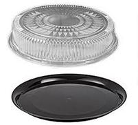 Catering Tray Combo Round HARD Plastic, 18'',  12 sets