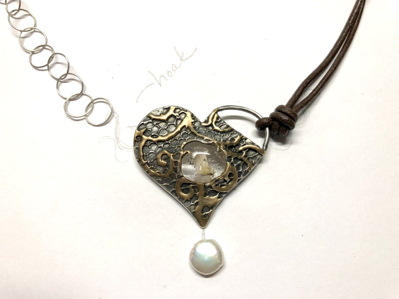 Fine silver, gold, and glass cremation pendant (progress pics)