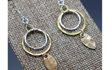 Silver and Gold-Fill Dangle Leaf Earrings, Ready to Ship - Ashley Lozano Jewelry