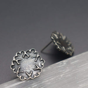 Fingerprint Snowflake Studs in Sterling Silver - Ashley Lozano Jewelry