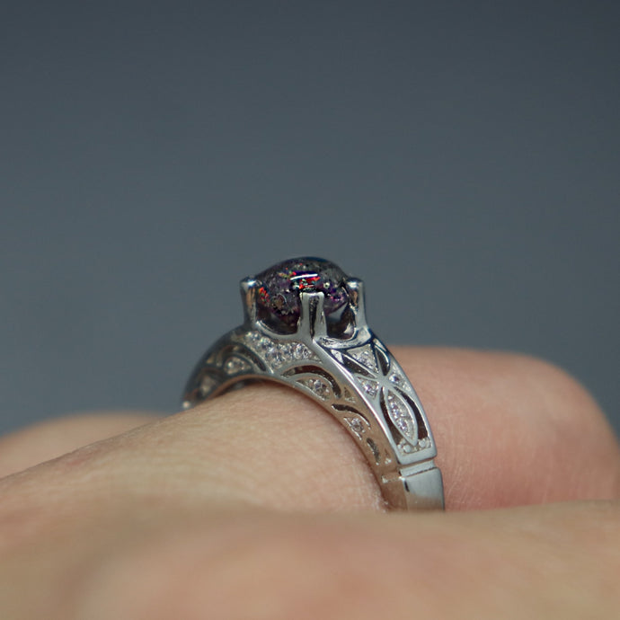 Silver Zirconia Encrusted Ring with Cremation Ashes - Ashley Lozano Jewelry