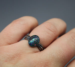 Silver Asymmetrical Dotted Cremation Ashes Ring - Ashley Lozano Jewelry