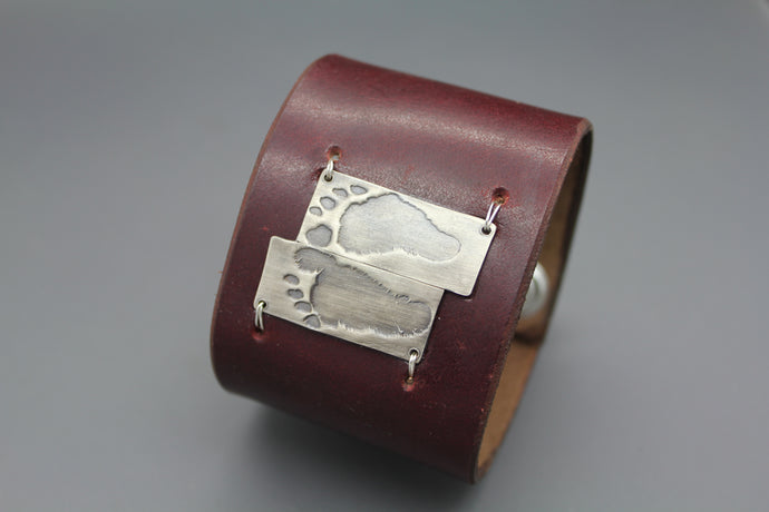Custom Baby Foot Print Silver And Leather Cuff With Actual Feet Prints - Ashley Lozano Jewelry
