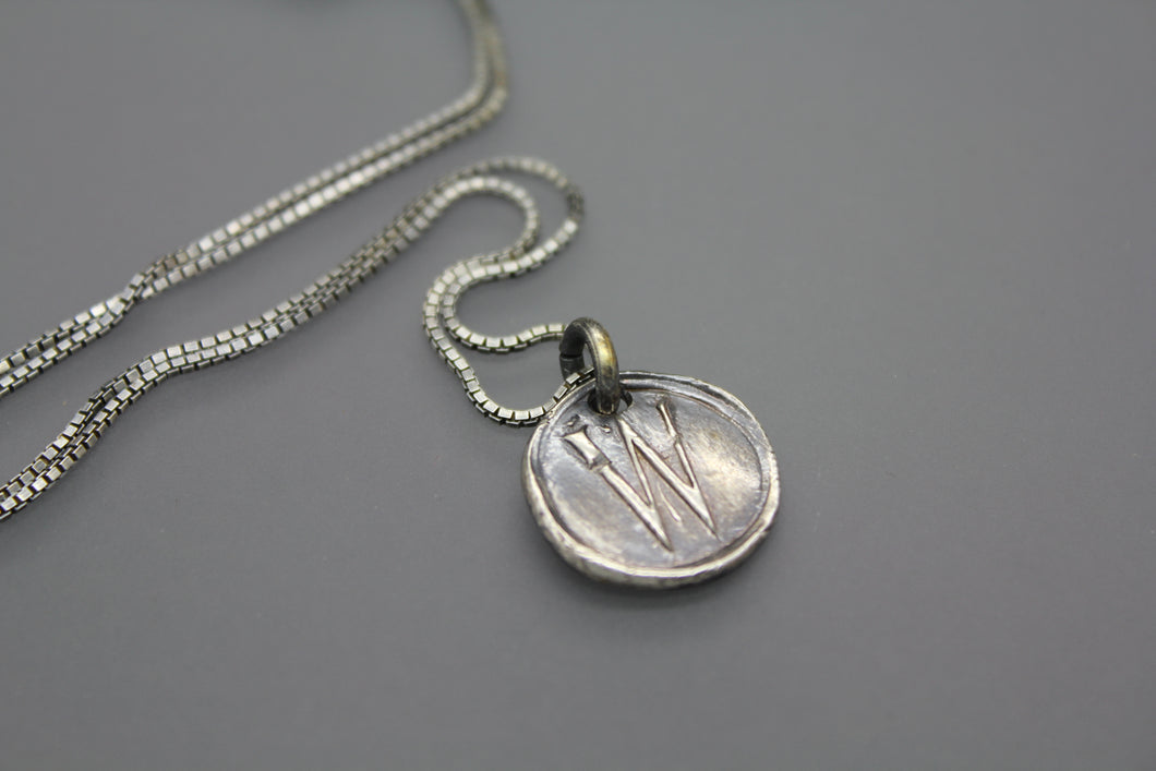 Wax Seal Necklace with Whimsical Font - Ashley Lozano Jewelry