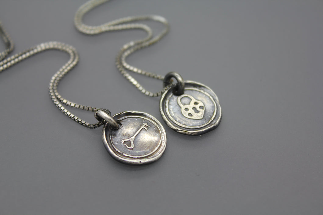 Wax Seal Necklace, Heart Locket and Key - Ashley Lozano Jewelry